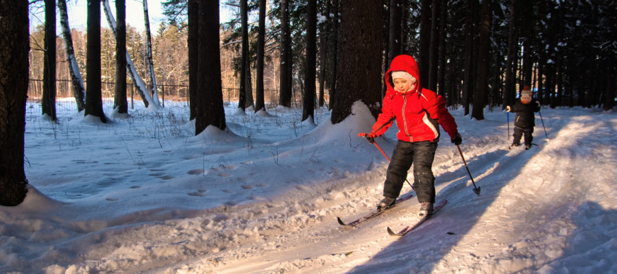 Children Cross Country Skiing